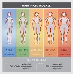 Diagramme Infographie Indice de Masse Corporelle IMC BMI en Anglais - Silhouettes - Cinq Classes et Formules de Calcul