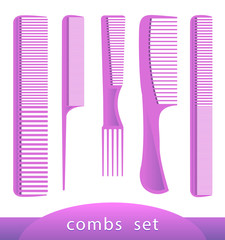 Set of different plastic combs, isolated on white. Vector illustration.