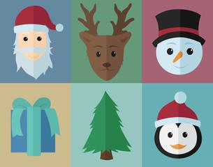 Christmas Icons Set, Flat Design