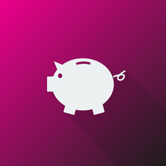 White Piggy Bank icon on pink background