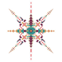 Vector Tribal ethnic ornament. Aztec decor elements. Tribal elements design isolated on pastel background. Flat decor elements. Perfect for your design, banners, posters, cards, backgrounds.