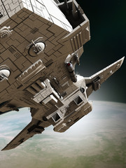 Interplanetary Spaceship Leaving Orbit, Close View - science fiction illustration