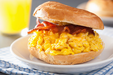 breakfast sandwich on bagel with egg bacon cheese