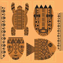 Set  decorative mask, fish, turtle, african ornament