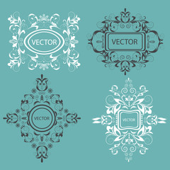 Set monogram design elements Baroque style