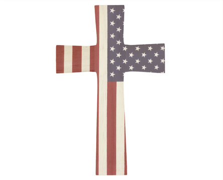 Wooden cross with an American flag overlay