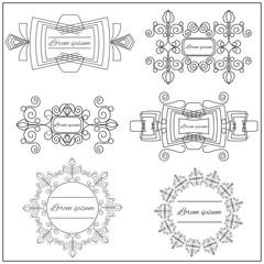 Set logos elegant ornament lines on a white background