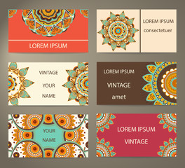 Set business cards with decorative flowers