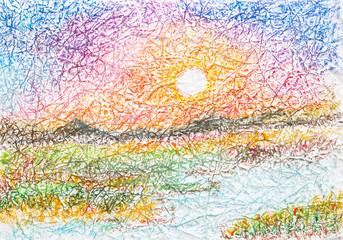 sunset landscape oil pastel on wrinkled paper