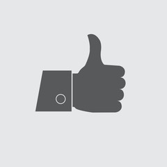 Thumb up icon or sign. Vector illustration.