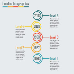 Timeline Infographics template with vertical circles. Colorful vector illustration.