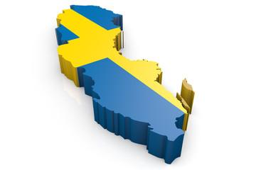 Umriss Schweden 3D
