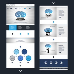 One Page Website Template with Cloud Computing Header Design