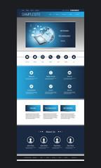 Website Template Design With Networks Header - Network Concept Background