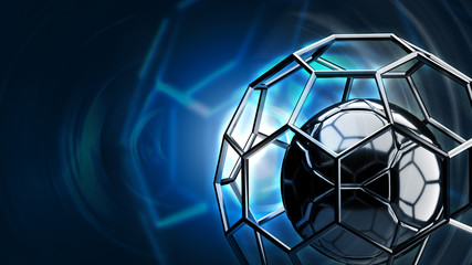 Football structure broadcast blue tone background 3d rendering