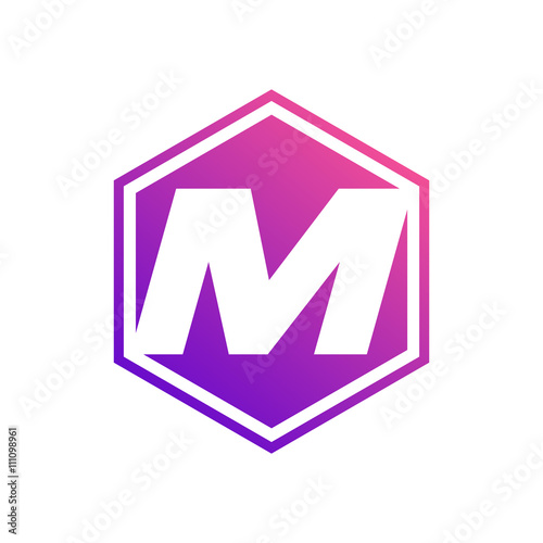 Hexagon Symbol Letter M Symbol Creative Design Word Art Text
