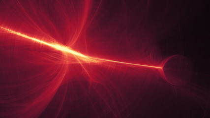 glowing red curved lines over dark Abstract Background universe. Illustration.
