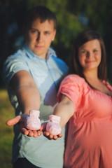 Portrait of lovely future parents