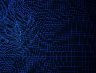Glowing blue grid landscape. Vector techno background.