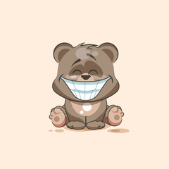 isolated Emoji character cartoon Bear with a huge smile from ear toear sticker emoticon