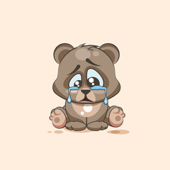 isolated Emoji character cartoon sad and frustrated Bear crying, tears sticker emoticon