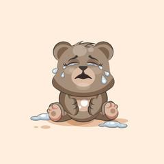 isolated Emoji character cartoon Bear crying, lot of tears sticker emoticon