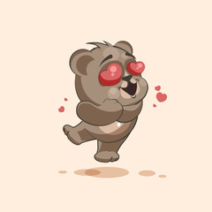 isolated Emoji character cartoon Bear in love flying with hearts sticker emoticon