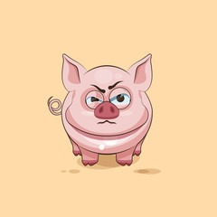 isolated Emoji character cartoon Pig sticker emoticon with angry emotion