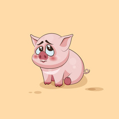isolated Emoji character cartoon Pig embarrassed, shy and blushes sticker emoticon