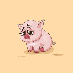 isolated Emoji character cartoon Pig sad and frustrated sticker emoticon