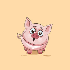 isolated Emoji character cartoon Pig surprised with big eyes sticker emoticon