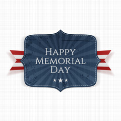 Happy Memorial Day patriotic Sign with Ribbon