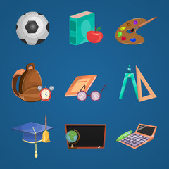 Cartoon Education Icon Set