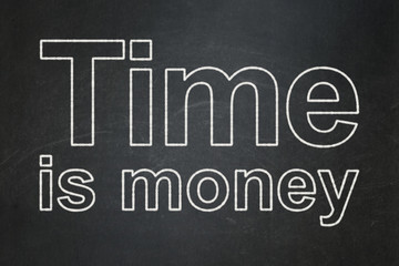 Timeline concept: Time Is money on chalkboard background
