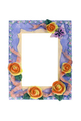Floral frame. Photo frame with flowers isolated on white.
