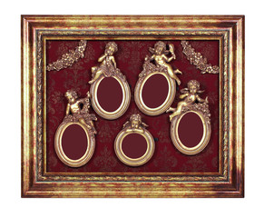 A few oval baroque frames with cupid inside rectangular old picture frame.