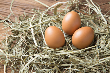 Eggs On Straw And Wood Background Raw Fresh Natural Farm Chicken