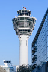 Air traffic control tower in Munich international passenger hub
