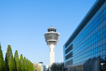 Fotobehang Luchthaven Munich international passenger airport control tower and terminal