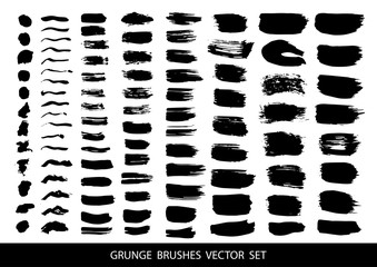 Set of black paint, ink brush strokes.Vector illustration