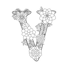 Letter V coloring book for adults vector