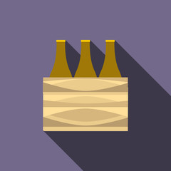Brown beer bottles icon, flat style