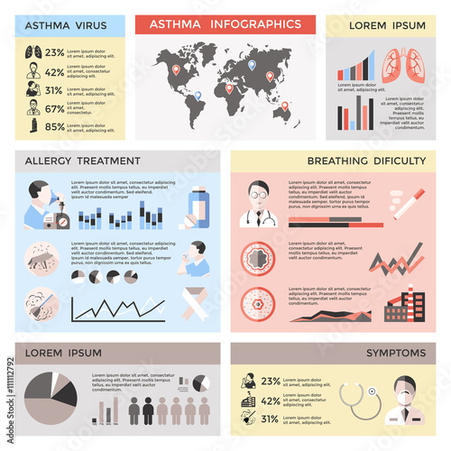 Bronchial Asthma Infographics Stock Image And Royaltyfree Vector - Asthma brochure template