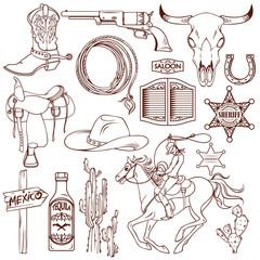 Wild West Monochrome Icon Set