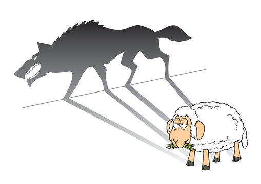 illustration of a sheep with wolf shadow