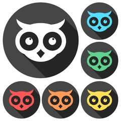 Owl icons set with long shadow