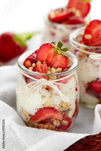 quot strawberry yogurt dessert with nuts and muesli