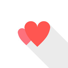 Two heart icon, flat style