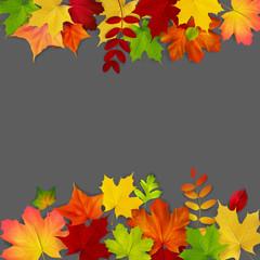 Autumn maple leaves frame on dark background, vector illustration