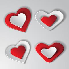 Set paper hearts background. Vector illustration